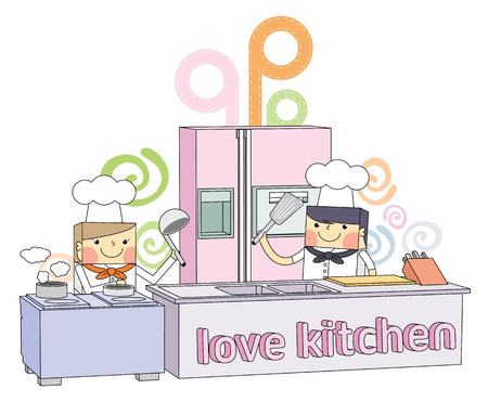 Restaurant kitchen chef line character illustration Vector