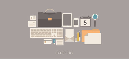 Modern and classic office life flat illustration Vector