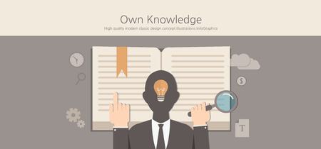 knowledge concept: Modern and classic design knowledge concept. Illustration