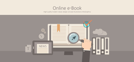 wordpress: Modern and classic design online e-book concept illustration