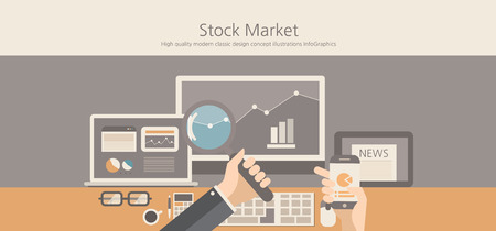 search marketing: Modern and classic design stock market concept.