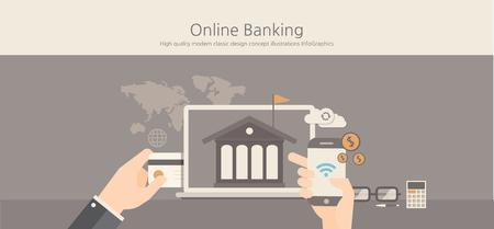 バンキング: モダンでクラシックなデザインのオンライン ・ バンキングの概念。