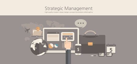marketing research: Modern and classic design stategic management concept.