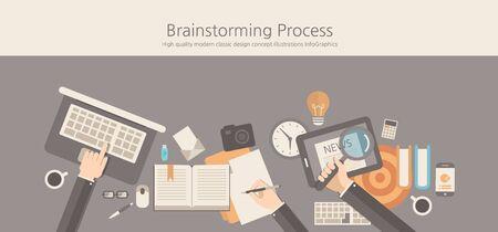 Modern and classic design brainstorming process concept. Çizim