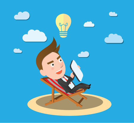 flat character: Funny flat character businessman vacation concept