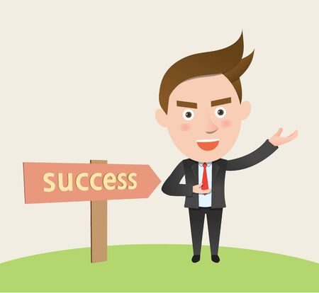 success business: Funny flat character success business concept