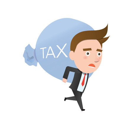 owe: Funny flat character heavy tax business concept