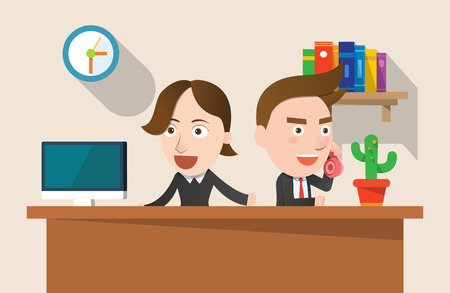 telemarketing: Business corporation telemarketing concept flat character