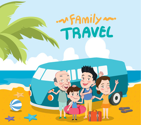 cartoon palm tree: Summer holidays illustration,flat design family travel and  bus concept
