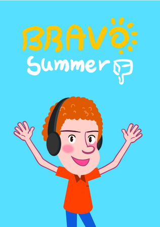 skyblue: Summer holidays illustration,flat design listening to music bravo man concept