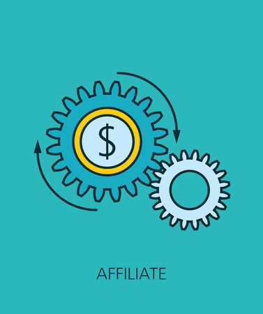 emarketing: Affiliate flat line icon concept Illustration