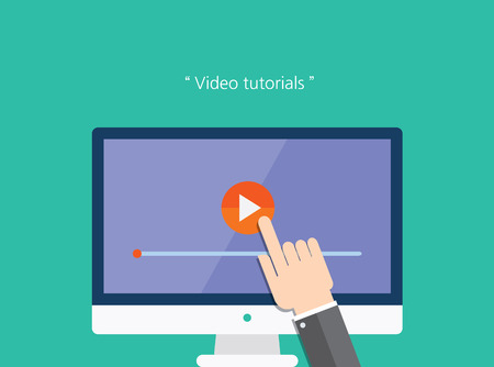 video sharing: video tutorials concept flat icon