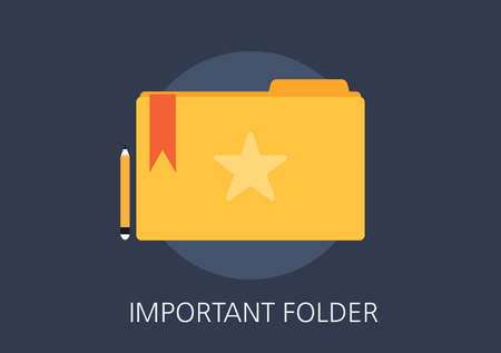 important: important folder concept flat icon