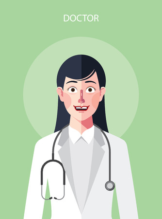 confident woman: Flat characters of doctor woman concept illustrations