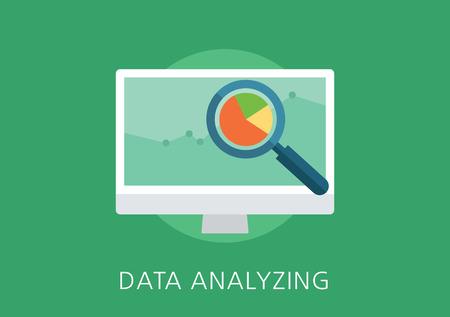 Análisis de datos de diseño moderno y clásico concepto icono plana Foto de archivo - 42856786