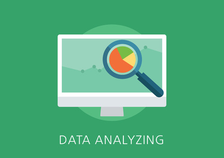 Modern en klassiek design data analytics-concept flat icon Stock Illustratie