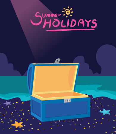 hinges: Summer holidays illustration,flat design treasure box and hunting concept Illustration