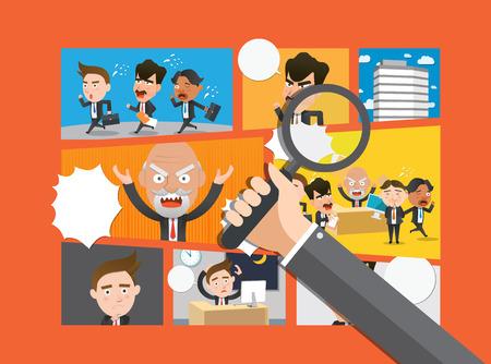 reuniones empresariales: cómico concepto de negocio dibujos animados diseño plano