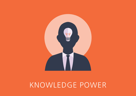 know how: knowledge power concept flat icon