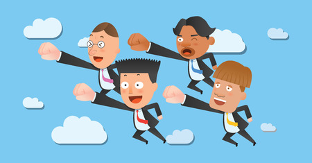 flat character: Business corporation flying concept flat character Illustration