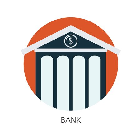 Bank flat icon concept 向量圖像