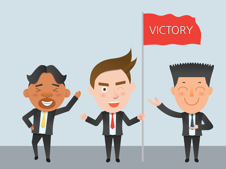 flat character: Business corporation victory concept flat character