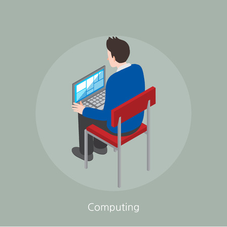 looking at computer: Computing concept design 3d isometric vector illustration