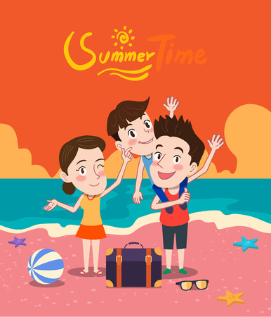 piggyback: Summer holidays  illustration,flat design family and beach, concept