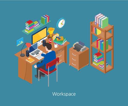 Workspace concept design 3d isometric vector illustration