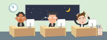 Business corporation overtime concept flat character Illustration
