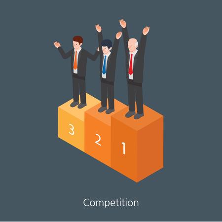 rewarded: Dise�o de concepto Competencia 3D isom�trico ilustraci�n vectorial Vectores