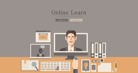 wordpress: Modern and classic design illustration online learn concept illustration