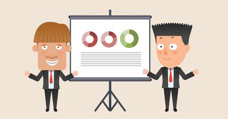 corporation: Business corporation presentation concept flat character Illustration
