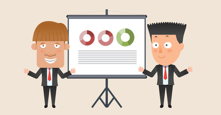 Business corporation presentation concept flat character Illustration