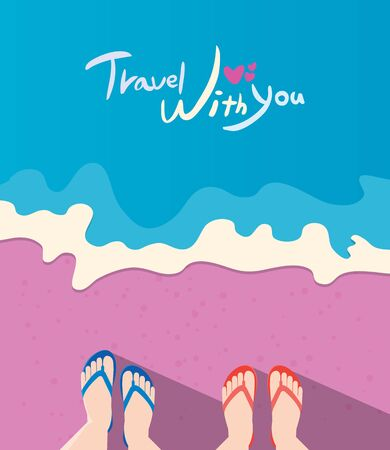 Summer holidays illustration,flat design beach and couple travel concept