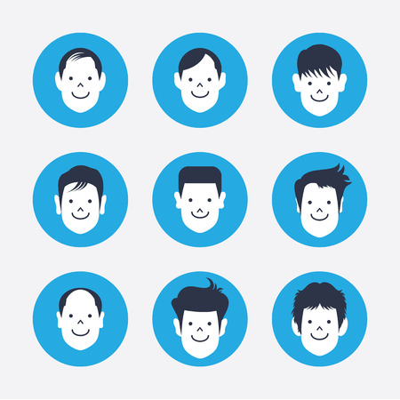 maketing: set of white avatar icons Illustration