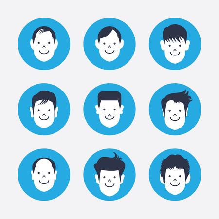 set of white avatar icons Illustration