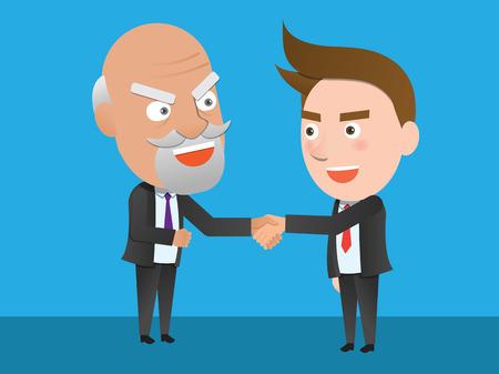 flat character: Business corporation partnership concept flat character Illustration