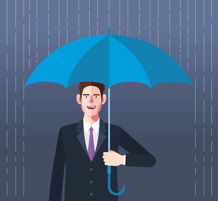 prudence: Flat character of umbrella businessman concept illustrations Illustration