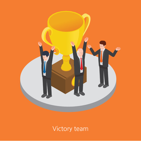 recompense: Victory team concept design 3d isometric vector illustration