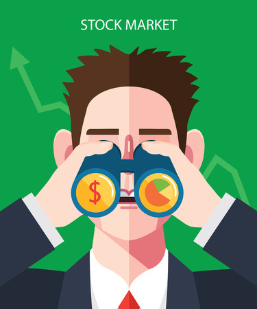 Flat character of stock market illustrations 向量圖像