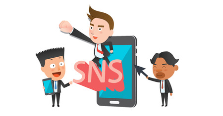 sns: Business corporation social media concept flat character