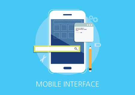 mobile interface developer concept flat icon