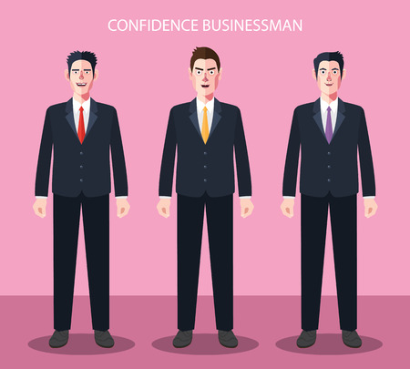 transforming: Flat characters of confidence businessman concept illustrations