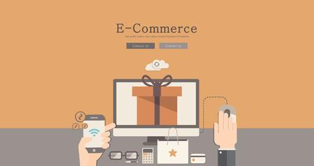 wordpress: Modern and classic design e-commerce concept illustration