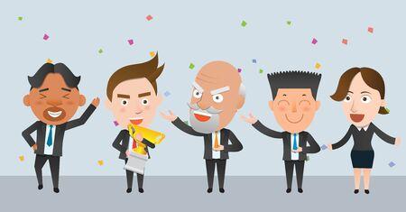 winner podium: Business corporation winners concept flat character Illustration