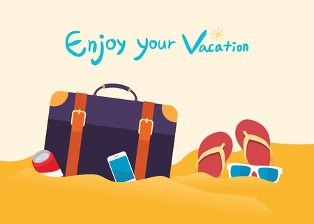exciting: Summer holidays vector illustration,flat design beach and business man concept Illustration