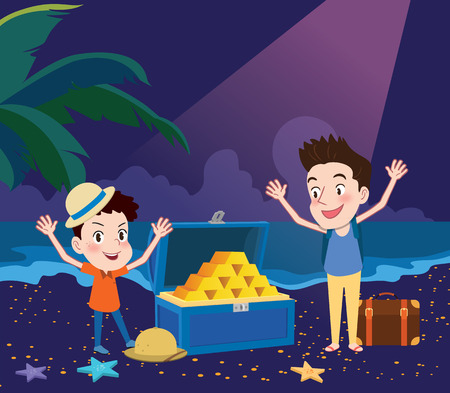 hinges: Summer holidays illustration,flat design exciting treasure hunting concept