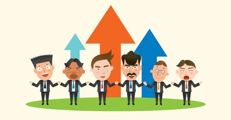 team effort: Business corporation teamwork concept flat character