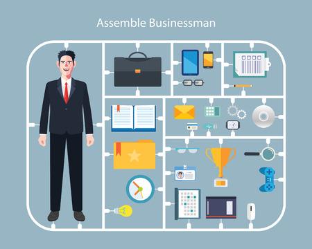 Flat character of assemble businessman concept illustrations Çizim